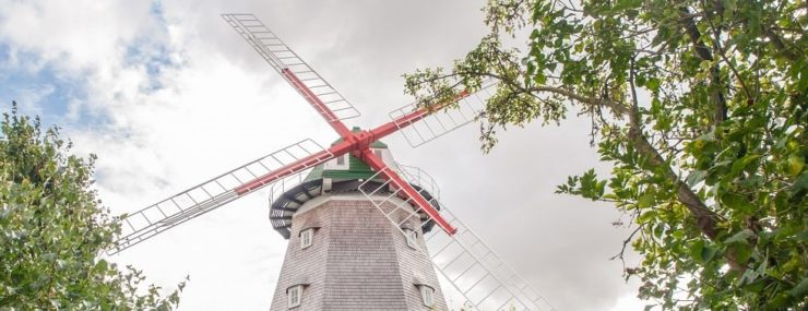 Mühle eingerahmt von Bäumen, © Frank Burger (Author: © Frank Burger)